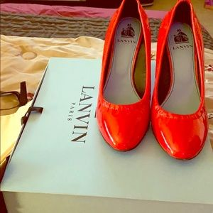 Lanvin Red Patent Wedge Pumps ❤️👠